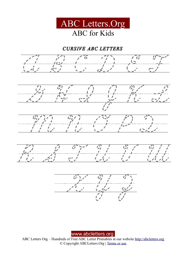 Worksheets Cursive Abc Chart printable cursive letter tracing chart uppercase abc letters org uppercase