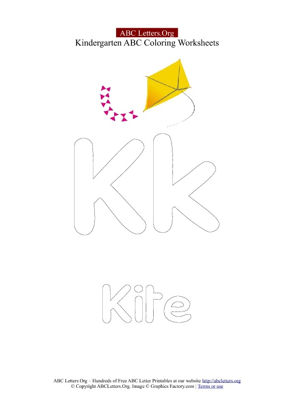 Letter K for Kite Kindergarten Printable | ABC Letters Org