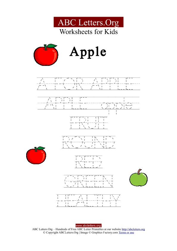 Kids ABC Letter Tracing Worksheets Apple | ABC Letters Org