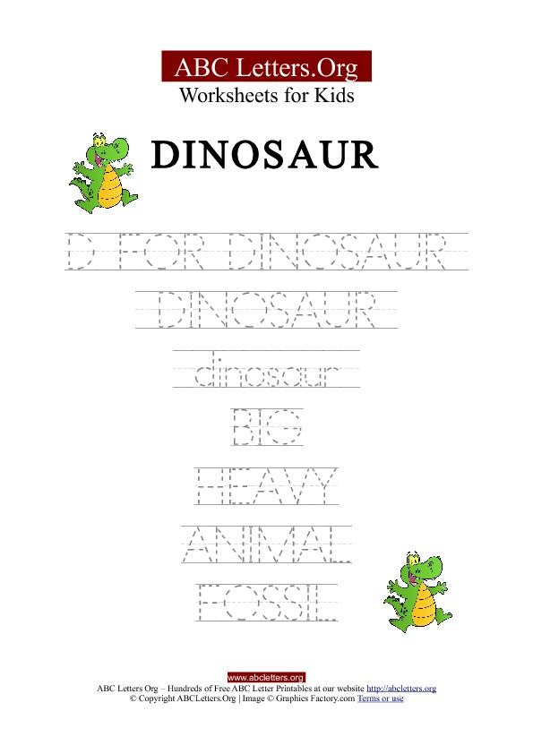 Kids Abc Letter Tracing Worksheets Dinosaur Abc Letters Org