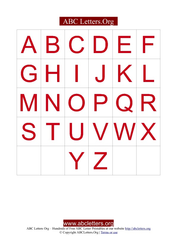 Alphabet Letter Card Template Red