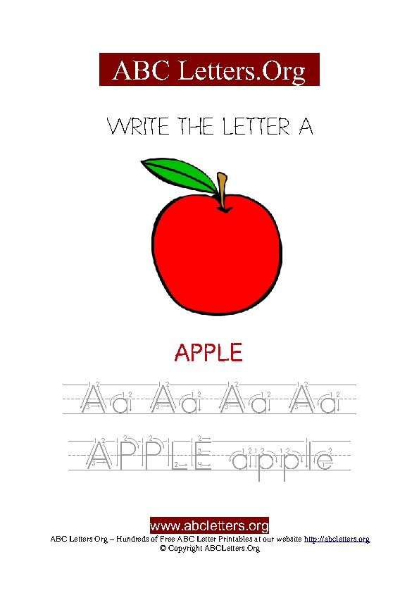 Apple Letter A Picture Writing Worksheet
