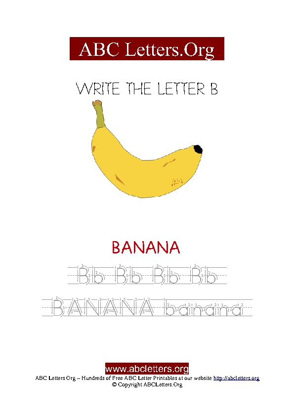 Banana Letter B Picture Writing Worksheet
