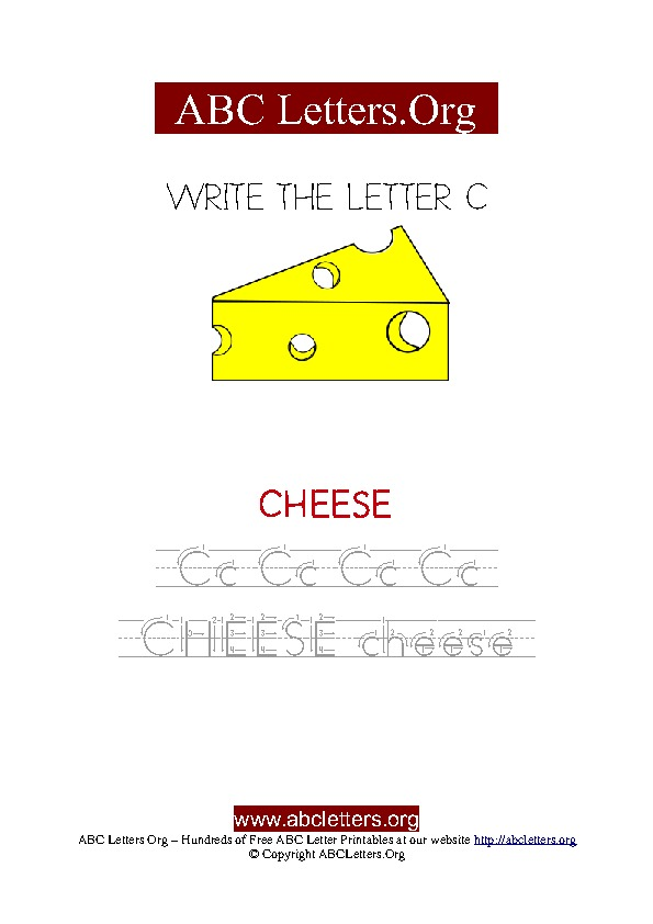 Cheese Letter C Picture Writing Worksheet