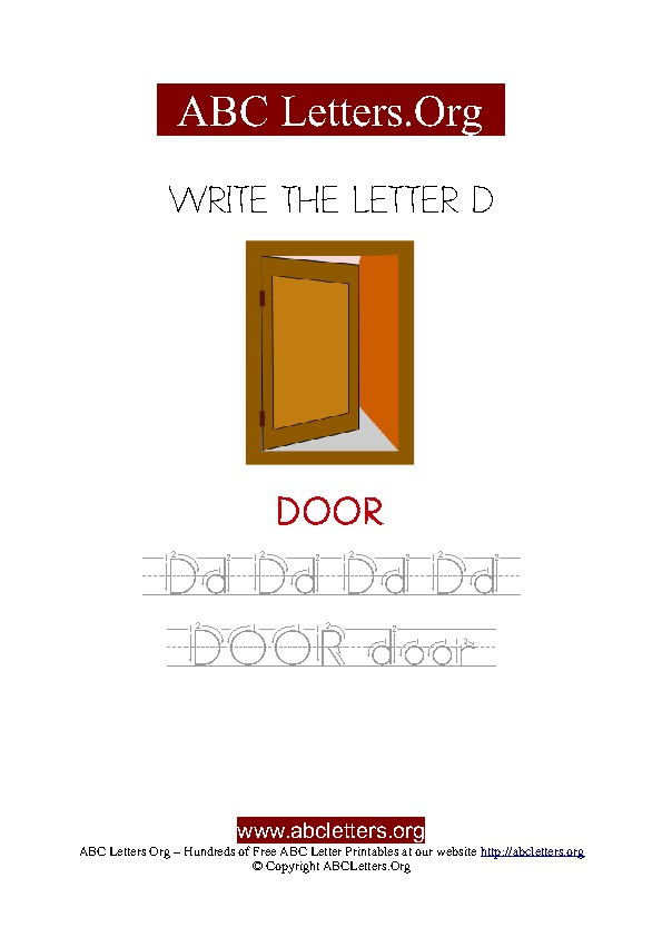 Door Letter D Picture Writing Worksheet