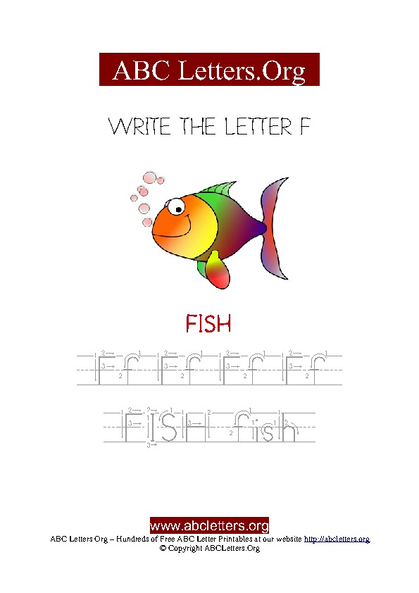 Fish Letter F Picture Writing Worksheet