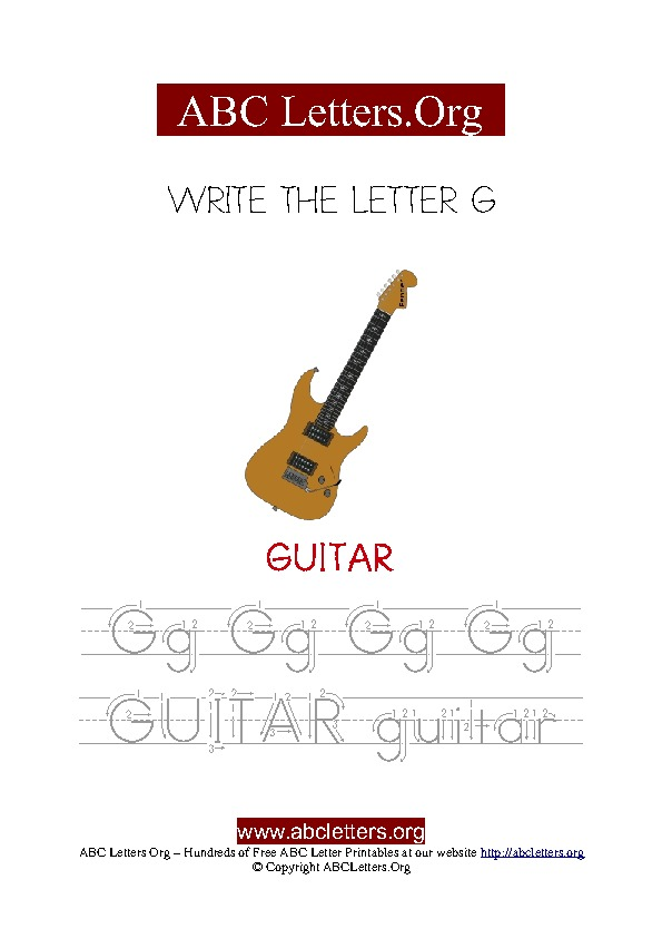 Guitar Letter G Picture Writing Worksheet