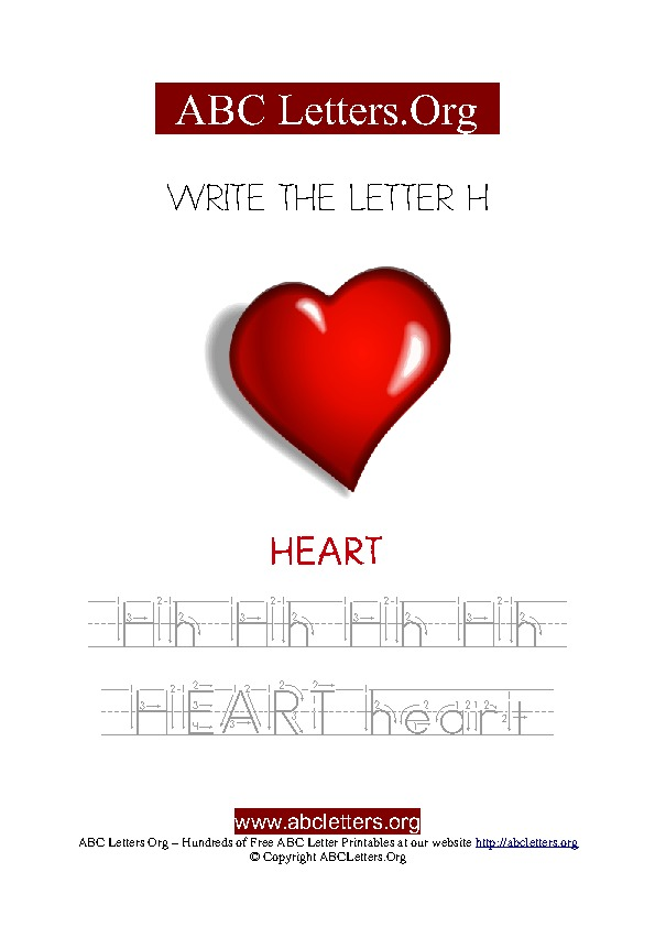 Heart Letter H Picture Writing Worksheet