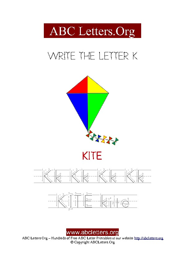 Kite Letter K Picture Writing Worksheet