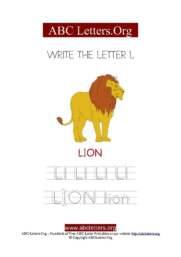 Lion Letter L Picture Writing Worksheet