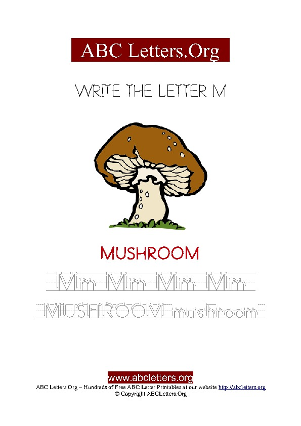 Mushroom Letter M Picture Writing Worksheet