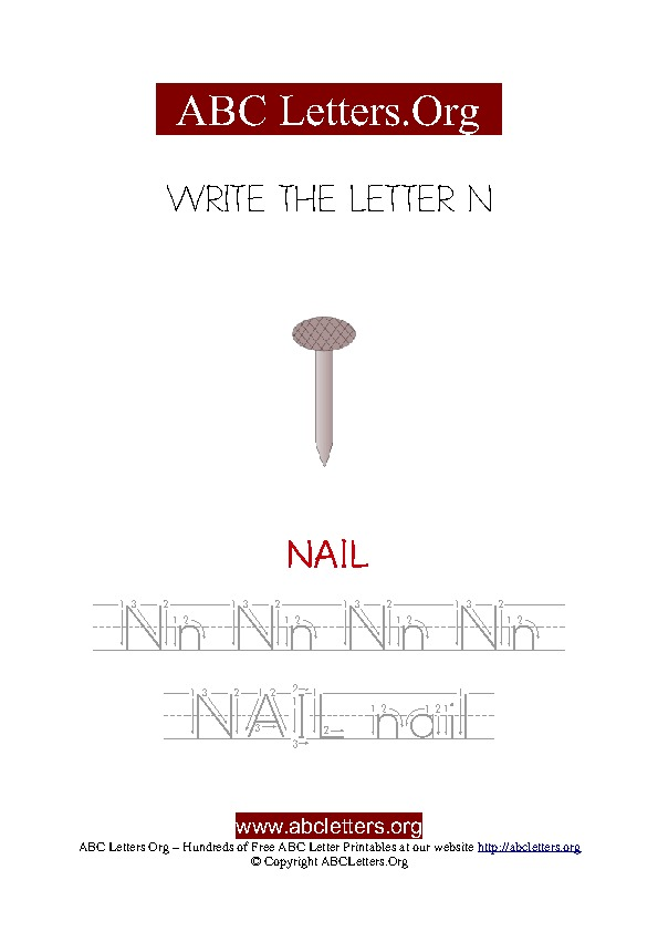 Nail Letter N Picture Writing Worksheet