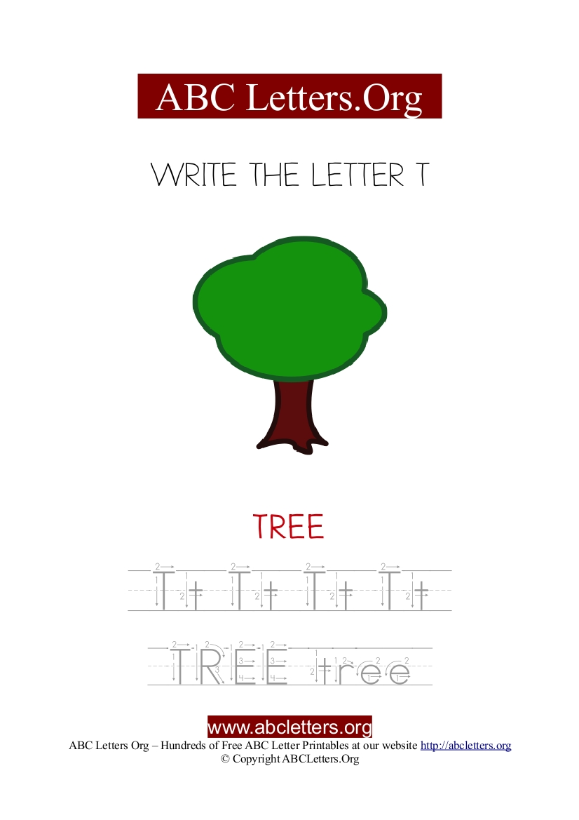 Tree Letter T Picture Writing Worksheet