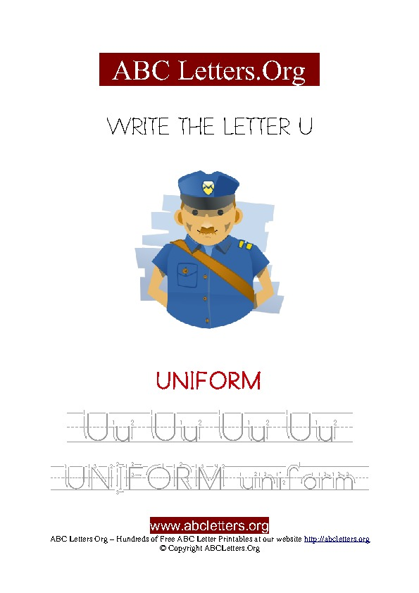 Uniform Letter U Picture Writing Worksheet