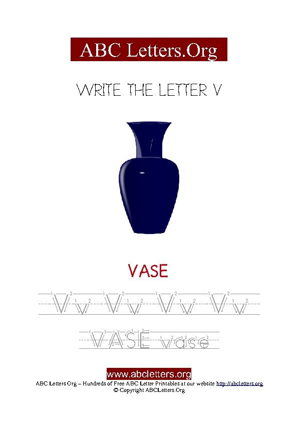 Vase Letter V Picture Writing Worksheet
