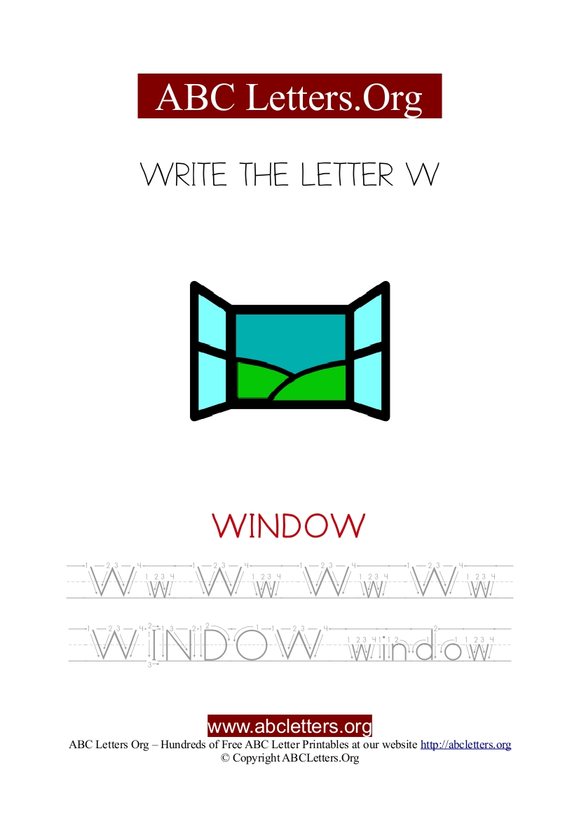 Window Letter W Picture Writing Worksheet