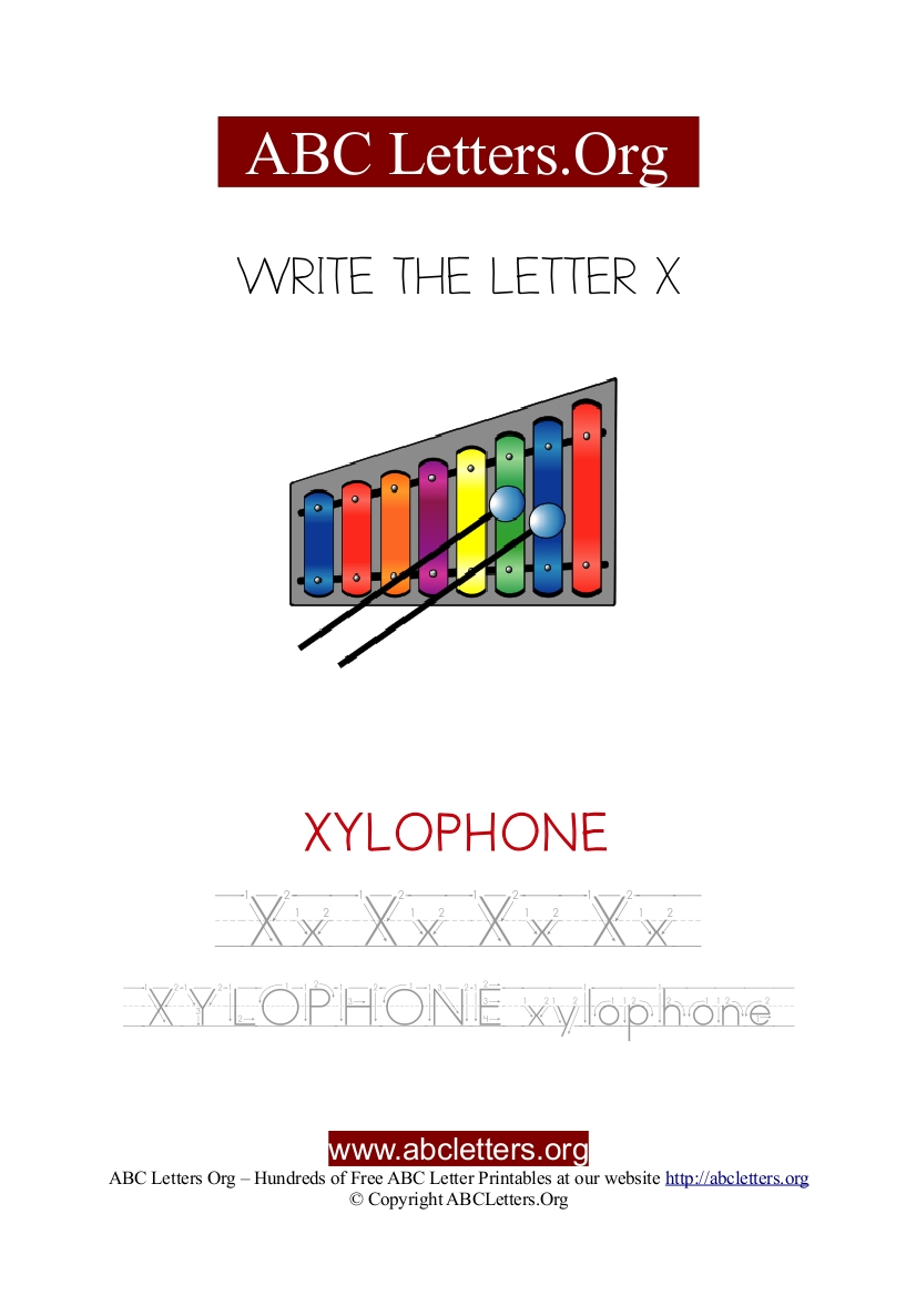 Xylophone Letter X Picture Writing Worksheet