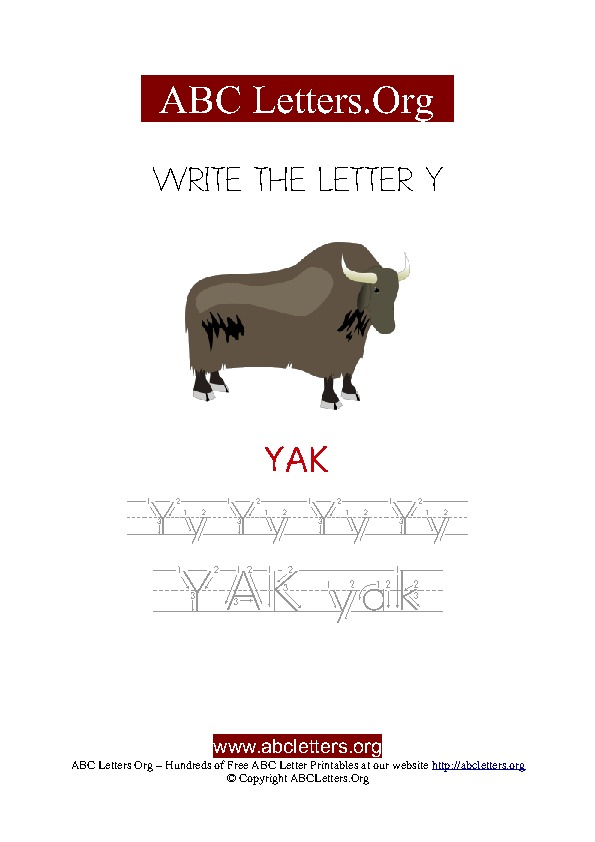 Yak Letter Y Picture Writing Worksheet
