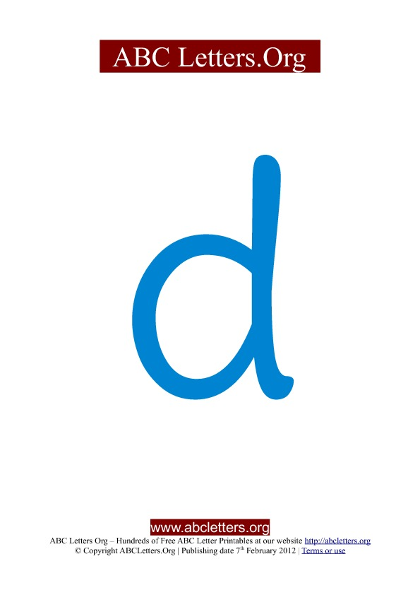 ABC letter printable templates lowercase blue D