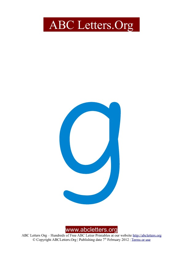 ABC letter printable templates lowercase blue G