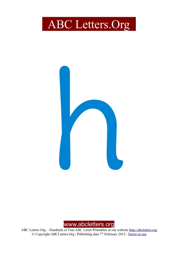 ABC letter printable templates lowercase blue H