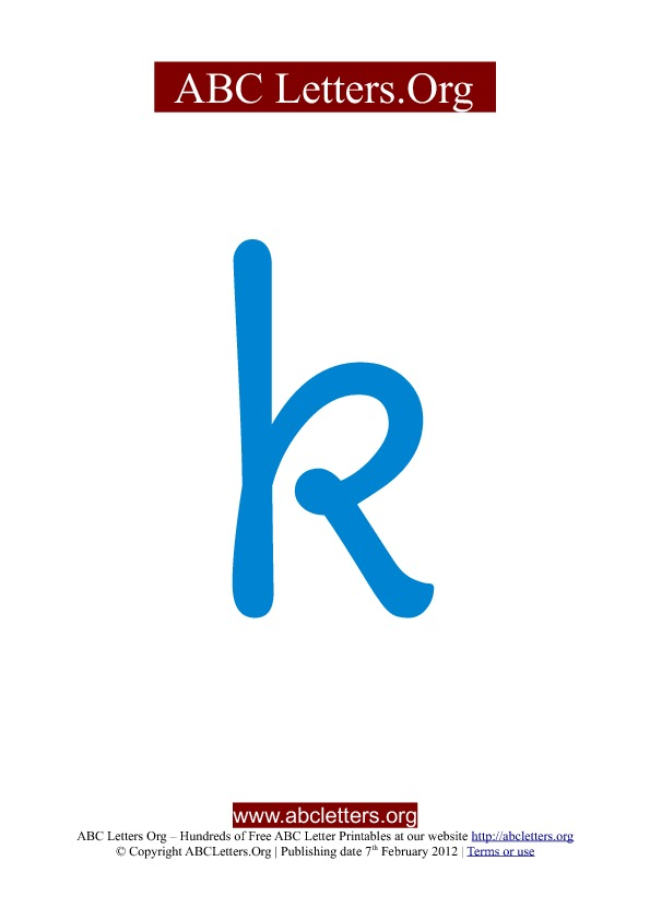 ABC letter printable templates lowercase blue K