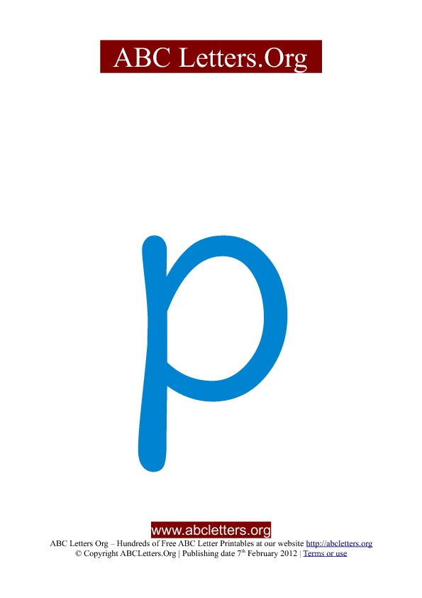 ABC letter printable templates lowercase blue P