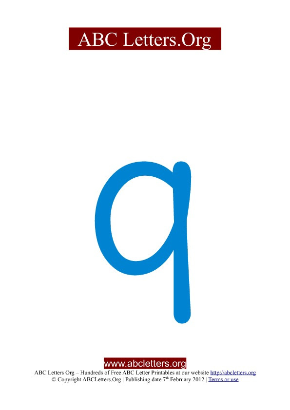 ABC letter printable templates lowercase blue Q