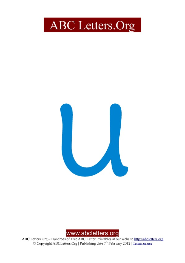 ABC letter printable templates lowercase blue U