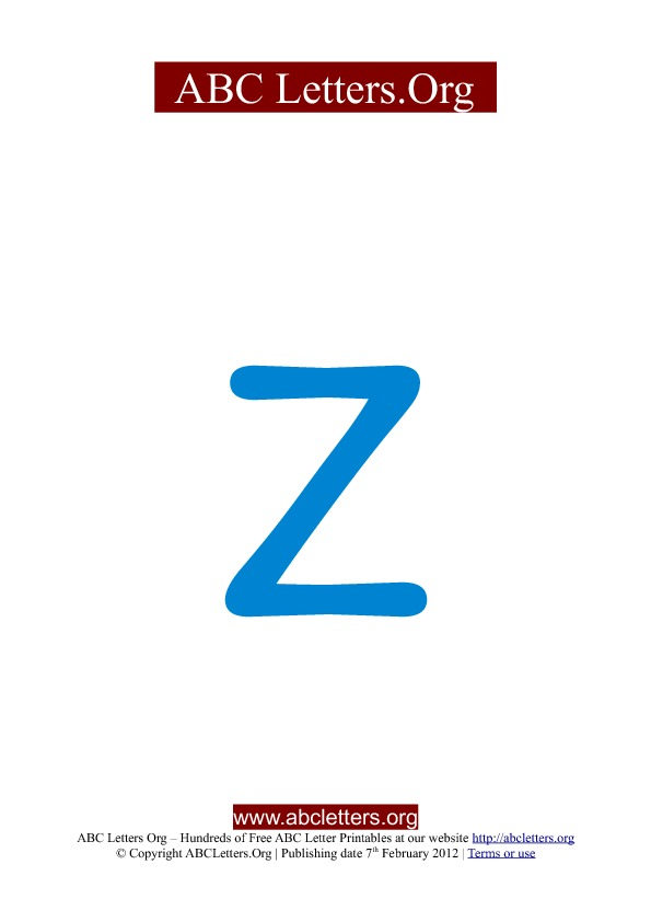ABC letter printable templates lowercase blue Z