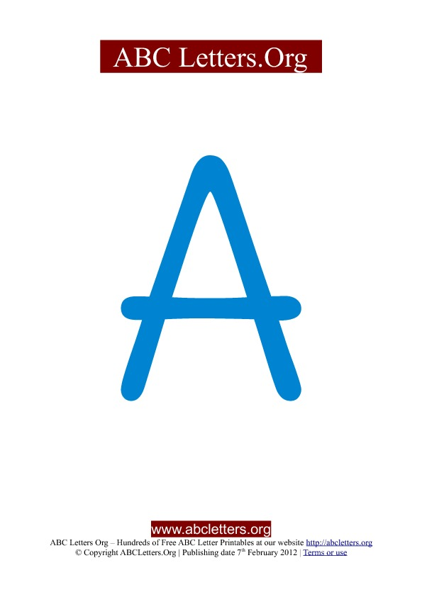 ABC letter printable templates uppercase blue A