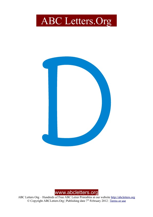 ABC letter printable templates uppercase blue D