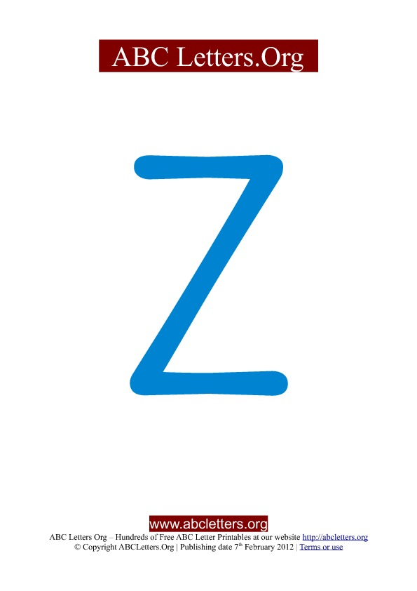 ABC letter printable templates uppercase blue Z