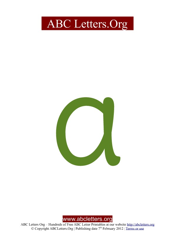 ABC letter printable templates lowercase green A