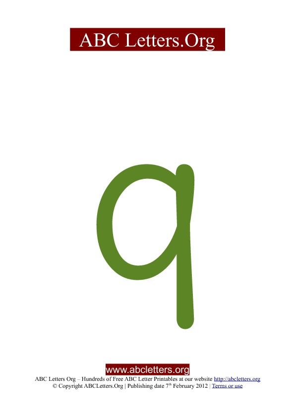 ABC letter printable templates lowercase green Q