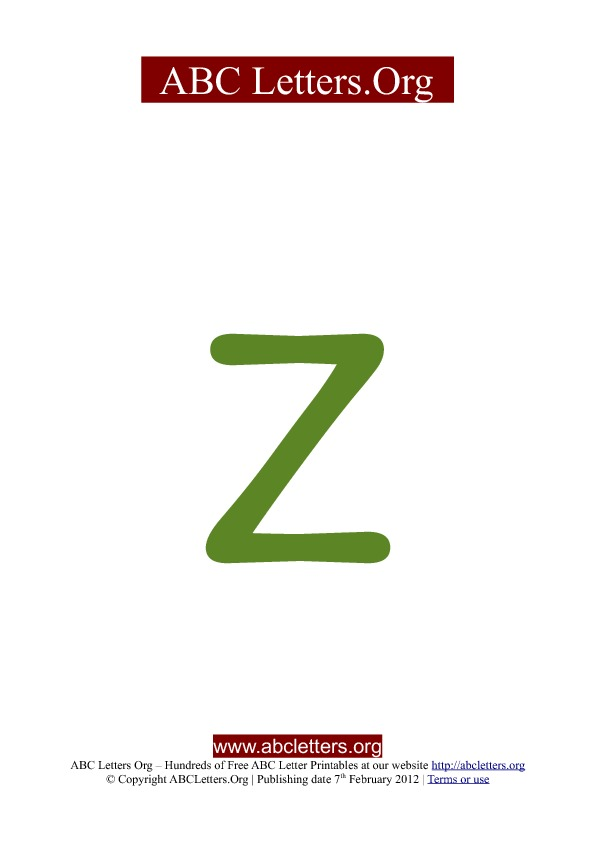 ABC letter printable templates lowercase green Z