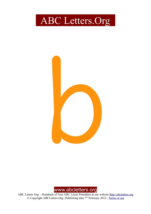 ABC letter printable templates lowercase orange B
