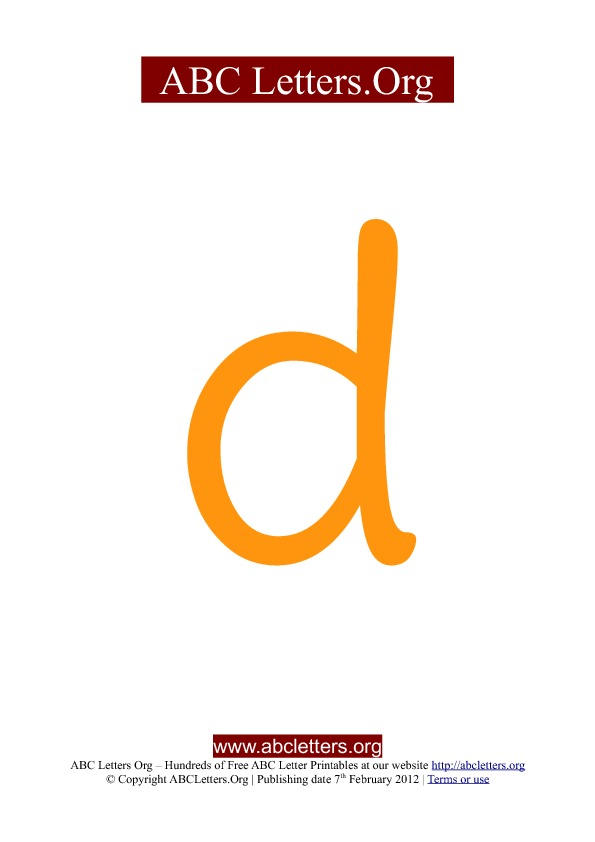 ABC letter printable templates lowercase orange D