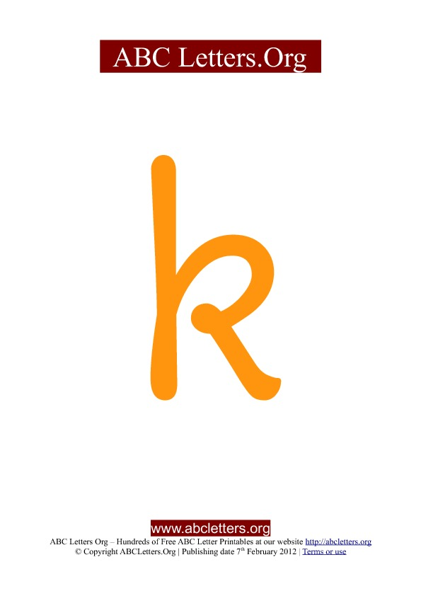 ABC letter printable templates lowercase orange K