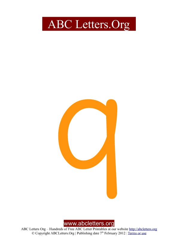 ABC letter printable templates lowercase orange Q