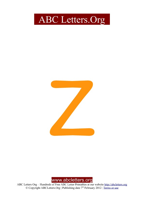 ABC letter printable templates lowercase orange Z