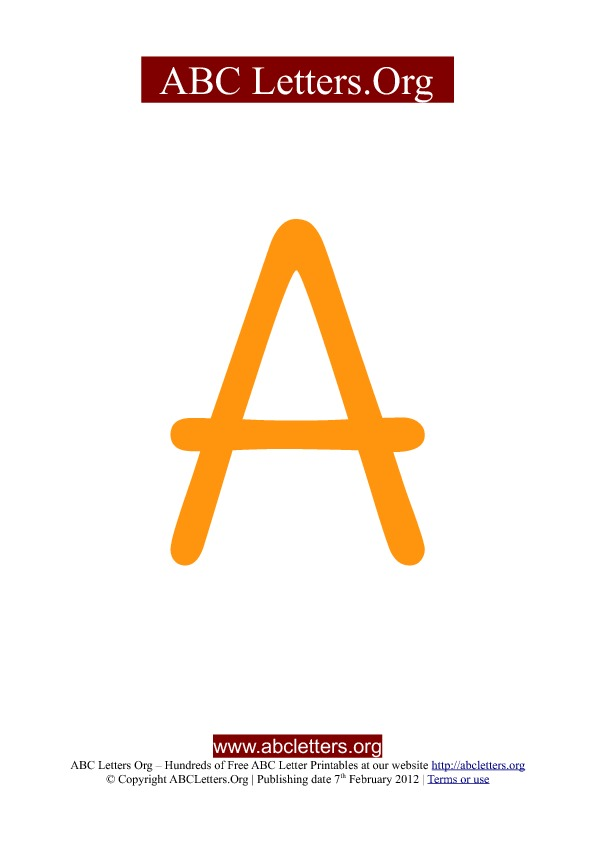 ABC letter printable templates uppercase orange A