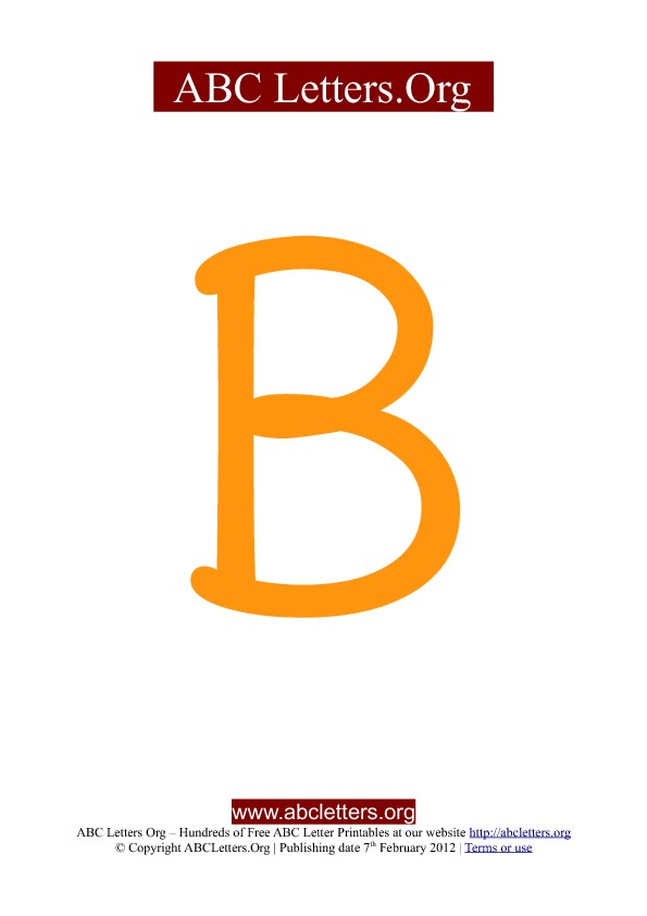 ABC letter printable templates uppercase orange B