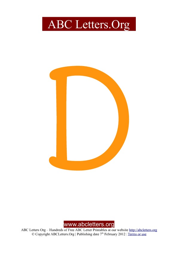 ABC letter printable templates uppercase orange D