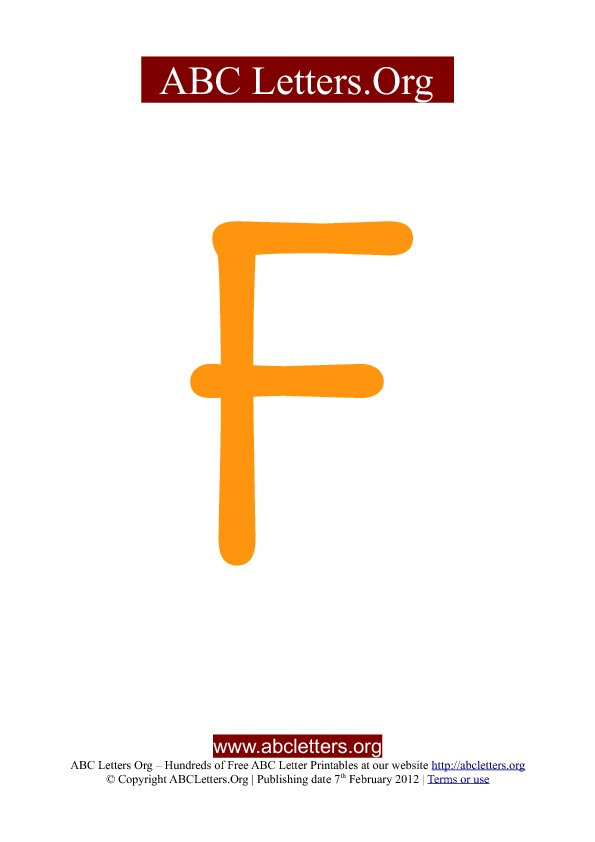 ABC letter printable templates uppercase orange F