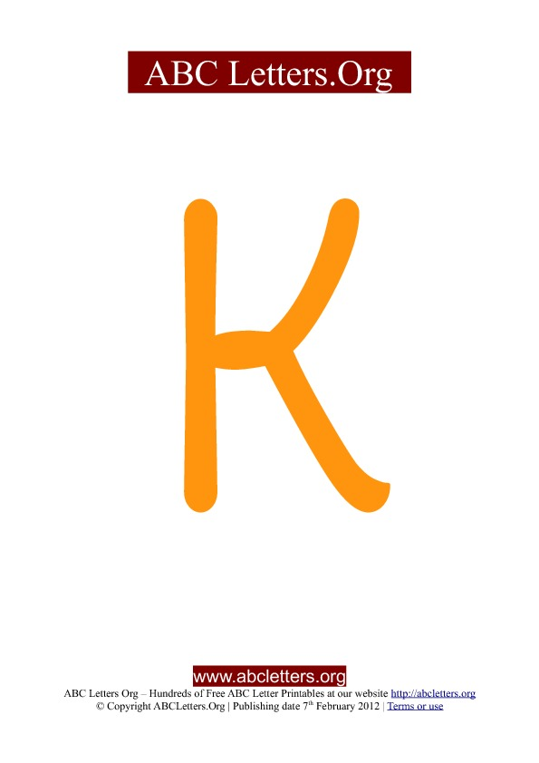 ABC letter printable templates uppercase orange K