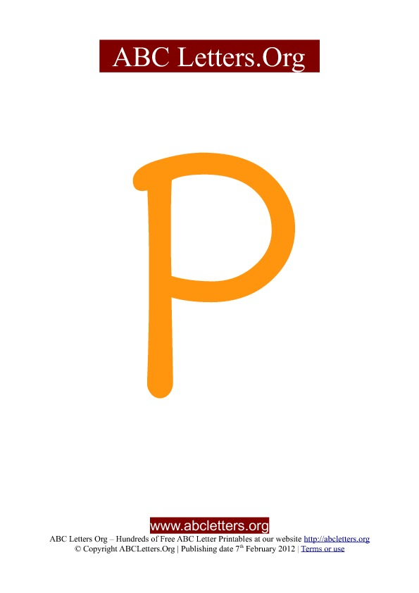 ABC letter printable templates uppercase orange P