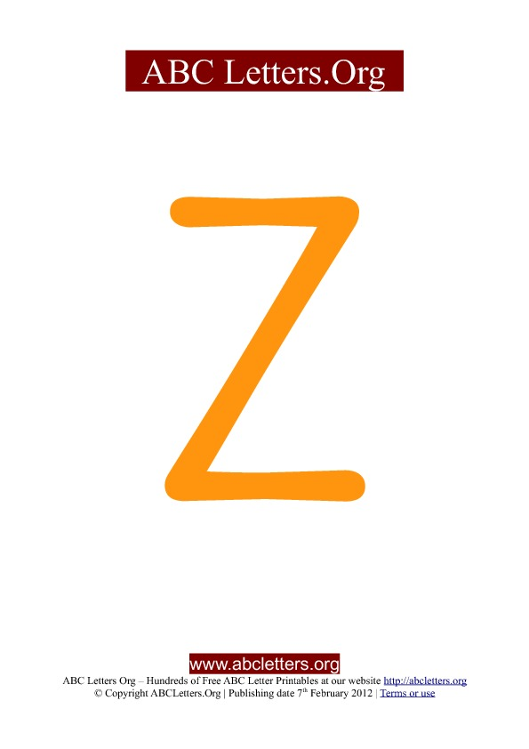 ABC letter printable templates uppercase orange Z