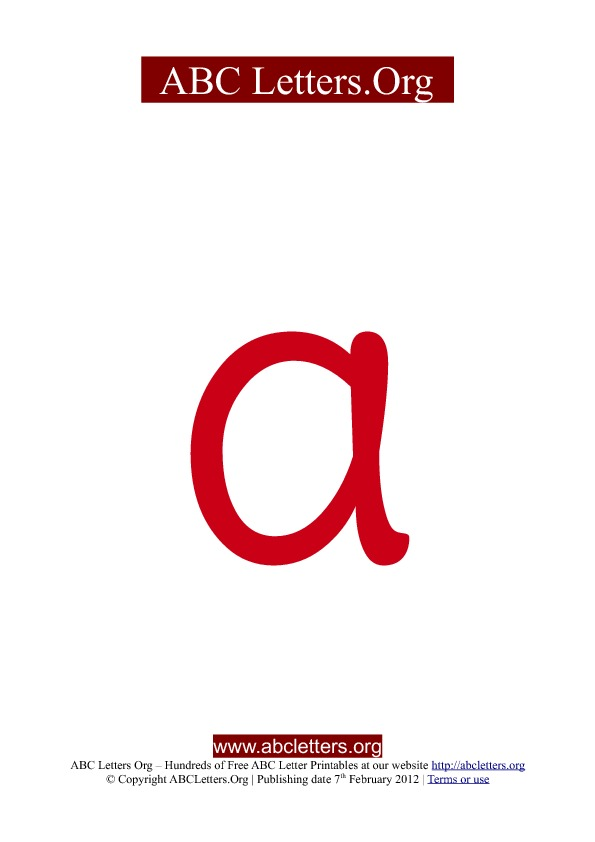 ABC letter printable templates lowercase red A