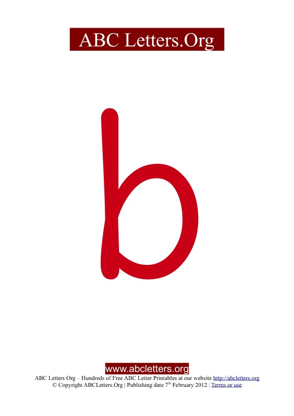 ABC letter printable templates lowercase red B